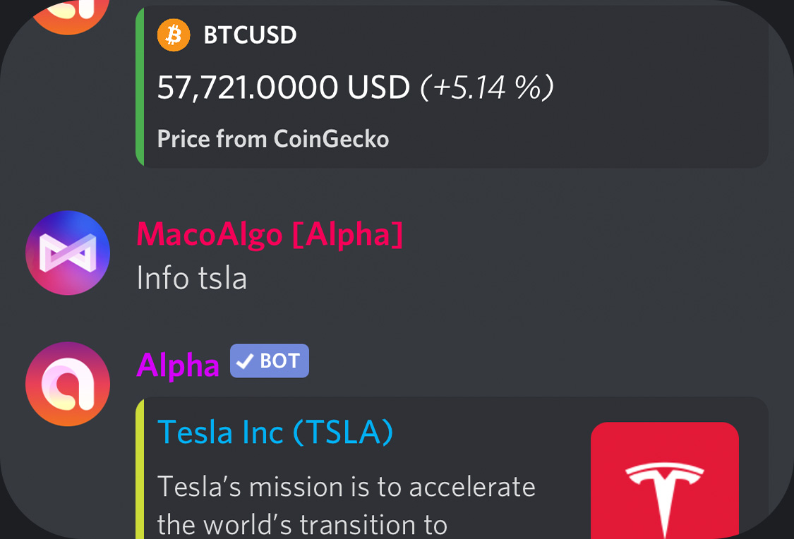 Alpha's price and asset details response in Discord