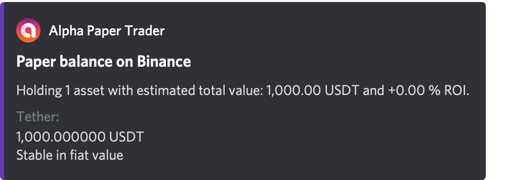 Alpha displaying paper balance for Binance